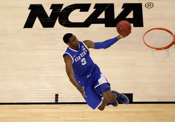 HOUSTON, TX - APRIL 02:  Terrence Jones #3 of the Kentucky Wildcats goes up for the layup against the Connecticut Huskies during the National Semifinal game of the 2011 NCAA Division I Men's Basketball Championship at Reliant Stadium on April 2, 2011 in H