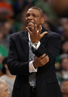 BOSTON, MA - APRIL 17:  Head coach Doc Rivers of the Boston Celtics reacts in the first quarter against the New York Knicks in Game One of the Eastern Conference Quarterfinals in the 2011 NBA Playoffs on April 17, 2011 at the TD Garden in Boston, Massachu