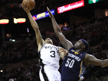 SAN ANTONIO, TX - APRIL 27:  George Hill #3 of the San Antionio Spurs shoots over Zach Randolph #50 of the Memphis Grizzlies in Game Five of the Western Conference Quarterfinals in the 2011 NBA Playoffs on April 27, 2011 at AT&T Center in San Antonio, Tex