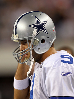 ARLINGTON, TX - OCTOBER 25:  Quarterback Tony Romo #9 of the Dallas Cowboys leaves the game after a left shoulder injury in the second quarter against the New York Giants at Cowboys Stadium on October 25, 2010 in Arlington, Texas.  (Photo by Ronald Martin