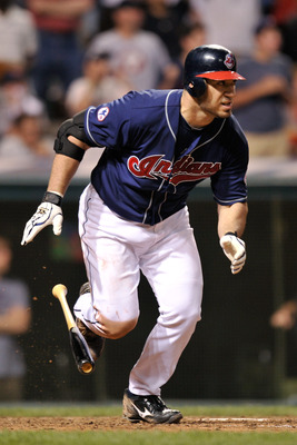 CLEVELAND, OH - JUNE 21:  Travis Hafner #48 of the Cleveland Indians takes off for first base after hitting a single in the eighth inning against the Colorado Rockies at Progressive Field on June 21, 2011 in Cleveland, Ohio. Colorado went on to win 4-3.