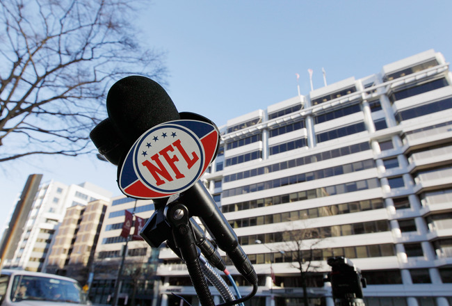 WASHINGTON, DC - MARCH 07: An NFL logo on a microphone is seen before the start of  negotiations at the Federal Mediation and Conciliation Service building  March 7, 2011 in Washington, DC. Representatives from the National Football League (NFL) and Natio