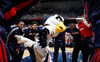 ATLANTA, GA - MAY 12:  Harry the Hawk, mascot of the Atlanta Hawks, against the Chicago Bulls in Game Six of the Eastern Conference Semifinals in the 2011 NBA Playoffs at Phillips Arena on May 12, 2011 in Atlanta, Georgia.  NOTE TO USER: User expressly ac