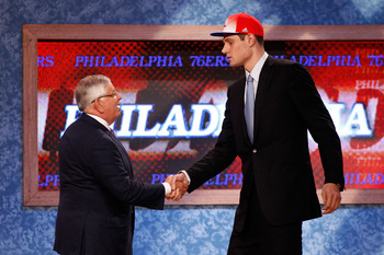 NEWARK, NJ - JUNE 23:  Nikola Vucevic from USC greets NBA Commissioner David Stern after he was selected #16 overall by the Philadelphia 76ers in the first round during the 2011 NBA Draft at the Prudential Center on June 23, 2011 in Newark, New Jersey.  N