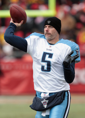 KANSAS CITY, MO - DECEMBER 26:  Quarterback Kerry Collins #5 of the Tennessee Titans warms-up prior to the start of the game against the Kansas City Chiefs on December 26, 2010 at Arrowhead Stadium in Kansas City, Missouri.  (Photo by Jamie Squire/Getty I