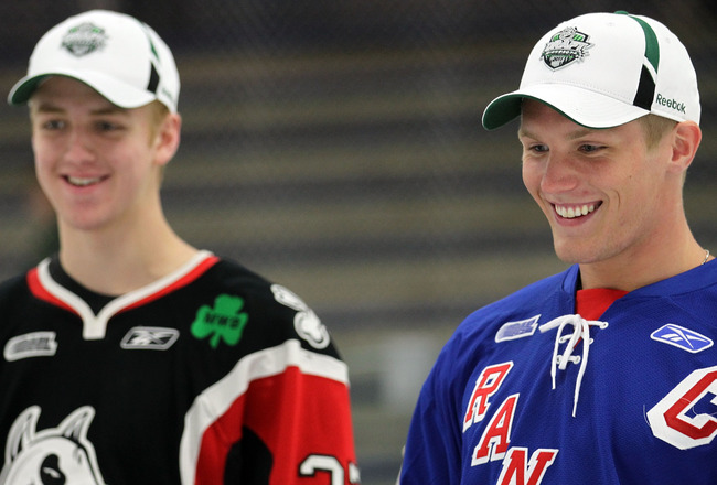 MENDOTA HEIGHTS, MN - JUNE 23: (R-L) Top draft prospect Gabriel Landeskog smiles on the ice alongside Dougie Hamilton during the American Development Model Clinic as part of the 2011 NHL Entry Draft at Saint Thomas Ice Arena on June 23, 2011 in Mendota He