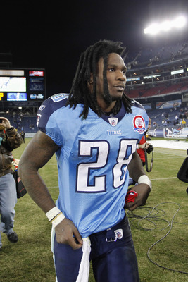 NASHVILLE, TN - DECEMBER 13: Chris Johnson #28 of the Tennessee Titans leaves the field following the game against the St. Louis Rams at LP Field on December 13, 2009 in Nashville, Tennessee. The Titans defeated the Rams 47-7 as Johnson scored three touch