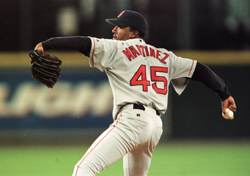 4 Apr 2000:  Starting pitcher Pedro Martinez of the Boston Red Sox delivers a pitch in the first inning of the home opener for the Seattle Mariners at Safeco Field in Seattle, Washington. Mandatory Credit: Otto Greule/ALLSPORT