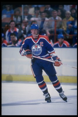 1985:  Center Wayne Gretzky of the Edmonton Oilers. Mandatory Credit: Rick Stewart  /Allsport
