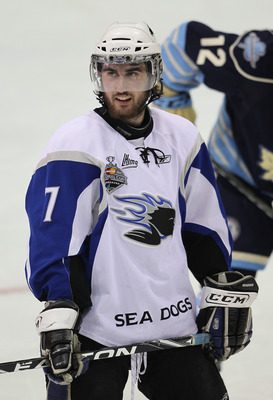 MISSISSAUGA, CANADA - MAY 20:  Zack Phillips #7 of the Saint John Sea Dogs waits for play to resume against the Mississauga St. Michael's Majors in the opening game of the 2011 Mastercard Memorial Cup at the Hershey Centre in Mississauga, Canada. The Sea