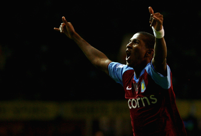 LONDON - SEPTEMBER 15:  Ashley Young of Aston Villa celebrates scoring his teams second goal of the game during the Barclays Premier League match between Tottenham Hotspur and Aston Villa at White Hart Lane on September 19, 2008 in London, England.  (Phot