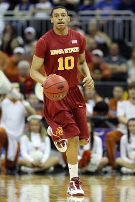KANSAS CITY, MO - MARCH 10:  Diante Garrett #10 of the Iowa State Cyclones moves the ball against the Texas Longhorns during the first round game of the 2010 Phillips 66 Big 12 Men's Basketball Tournament at the Sprint Center on March 10, 2010 in Kansas C