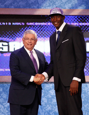 NEWARK, NJ - JUNE 23:  Bismack Biyombo from the Congo greets NBA Commissioner David Stern after he was picked #7 overall by the Sacramento Kings in the first round during the 2011 NBA Draft at the Prudential Center on June 23, 2011 in Newark, New Jersey.