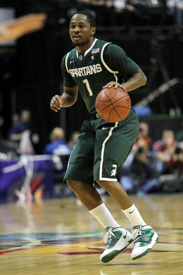 INDIANAPOLIS, IN - MARCH 12:  Kalin Lucas #1 of the Michigan State Spartans looks to pass against the Penn State Nittany Lions during the semifinals of the 2011 Big Ten Men's Basketball Tournament at Conseco Fieldhouse on March 12, 2011 in Indianapolis, I