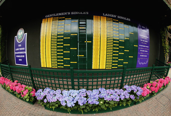 LONDON - JULY 6:  General view of the Singles draw board taken during the final day of the Wimbledon Lawn Tennis Championships held on July 6, 2003 at the All England Lawn Tennis and Croquet Club, in Wimbledon, London. (Photo by Mike Hewitt/Getty Images)