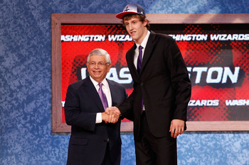 NEWARK, NJ - JUNE 23:  Jan Vesely from the Czech Republic greet NBA Commissioner David Stern after he was selected #6 overall by the Washington Wizards in the first round during the 2011 NBA Draft at the Prudential Center on June 23, 2011 in Newark, New J