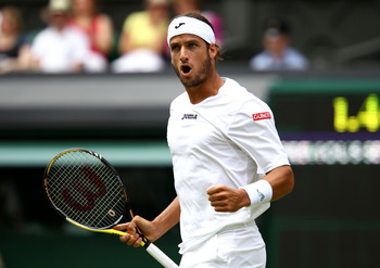 LONDON, ENGLAND - JUNE 24:  Feliciano Lopez of Spain reacts to a play during his third round match against Andy Roddick of the United States on Day Five of the Wimbledon Lawn Tennis Championships at the All England Lawn Tennis and Croquet Club on June 24,