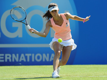 EASTBOURNE, ENGLAND - JUNE 14:  Tsventana Pironkova of Bulgaria in action during her defeat to Serena Williams of USA during day four of the AEGON International at Devonshire Park on June 14, 2011 in Eastbourne, England.  (Photo by Mike Hewitt/Getty Image