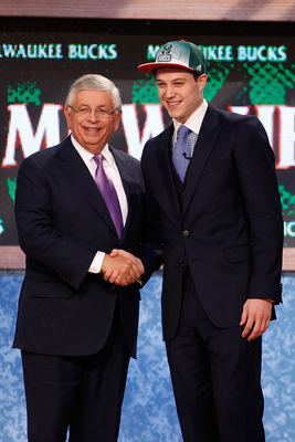 NEWARK, NJ - JUNE 23:  Jimmer Fredette from BYU greets NBA Commissioner David Stern after he was selected #10 overall by the Milwaukee Bucks in the first round during the 2011 NBA Draft at the Prudential Center on June 23, 2011 in Newark, New Jersey.  NOT