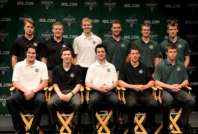MINNEAPOLIS, MN - JUNE 23:  Top draft prospects (back row L-R) Adam Larsson, Gabriel Landeskog, Dougie Hamilton, Seth Ambroz, Jonathan Huberdeau, Sean Couturier, (Front Row L-R) John Gibson, Ryan Nugent-Hopkins, Ryan Murphy, Ryan Strome and Nathan Beaulie