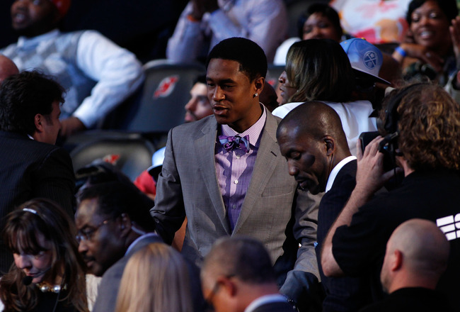 NEWARK, NJ - JUNE 23:  Marshon Brooks (R) from Providence celebrates with friends and family after he was drafted #25 overall by the Boston Celtics in the first round during the 2011 NBA Draft at the Prudential Center on June 23, 2011 in Newark, New Jerse