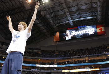 DALLAS, TX - JUNE 16: Forward Dirk Nowitzki of the Dallas Mavericks during the Dallas Mavericks Victory celebration on June 16, 2011 in Dallas, Texas. (Photo by Brandon Wade/Getty Images)