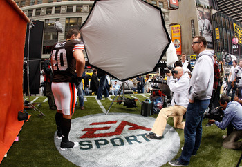 NEW YORK - APRIL 28:  Peyton Hillis #40 of the Cleveland Browns participates in a photo shoot for the cover of EA Sports Madden NFL 12 on April 28, 2011 in Time Square, New York City  (Photo by Mike Stobe/Getty Images for EA Sports)