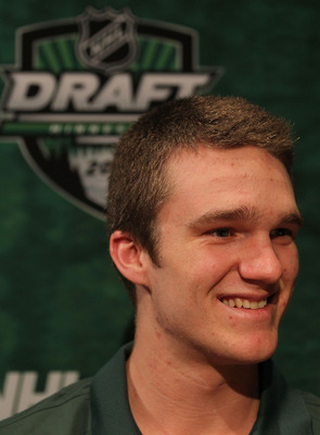 MINNEAPOLIS, MN - JUNE 23:  Jonathan Huberdeau talks to members of the media during the Top Prospects Media Availability as part of the 2011 NHL Entry Draft at Walker Arts Center on June 23, 2011 in Minneapolis, Minnesota.  (Photo by Nick Laham/Getty Imag