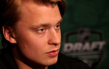 MINNEAPOLIS, MN - JUNE 23:  Adam Larsson talks to members of the media during the Top Prospects Media Availability as part of the 2011 NHL Entry Draft at Walker Arts Center on June 23, 2011 in Minneapolis, Minnesota.  (Photo by Nick Laham/Getty Images)