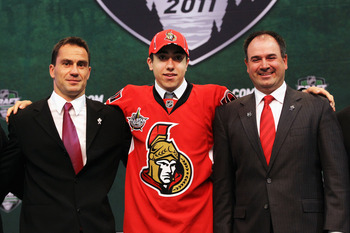 ST PAUL, MN - JUNE 24:  Sixth overall pick Mika Zibanejad by the Ottawa Senators stands onstage with members of the Ottawa Senators organization during day one of the 2011 NHL Entry Draft at Xcel Energy Center on June 24, 2011 in St Paul, Minnesota.  (Pho