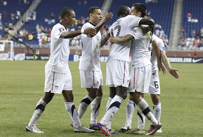 DETROIT, MI - JUNE 7: Clint Dempsey #8 of the United States celebrates a second half goal with his teammates while playing Canada during the 2011 Gold Cup  at Ford Field on June 7, 2011 in Detroit, Michigan. The United States won the game 2-0. (Photo by G