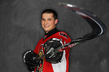 ST PAUL, MN - JUNE 24:  24th overall pick Matthew Puempel by the Ottawa Senators poses for a photo portrait during day one of the 2011 NHL Entry Draft at Xcel Energy Center on June 24, 2011 in St Paul, Minnesota. (EDITORS NOTE: Image has been digitally al