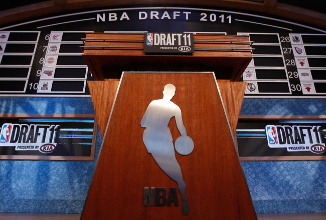 NEWARK, NJ - JUNE 23:  A general view of the draft board and podium on the stage during the 2011 NBA Draft at the Prudential Center on June 23, 2011 in Newark, New Jersey.  NOTE TO USER: User expressly acknowledges and agrees that, by downloading and/or u