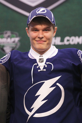 ST PAUL, MN - JUNE 24:  27th overall pick Vladislav Namestnikov by the Tampa Bay Lightning stands onstage for a photo during day one of the 2011 NHL Entry Draft at Xcel Energy Center on June 24, 2011 in St Paul, Minnesota.  (Photo by Bruce Bennett/Getty I