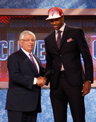 NEWARK, NJ - JUNE 23:  Tristan Thompson from the University of Texas greets NBA Commissioner David Stern after he was drafted #4 overall by the Cleveland Cavaliers in the first round during the 2011 NBA Draft at the Prudential Center on June 23, 2011 in N