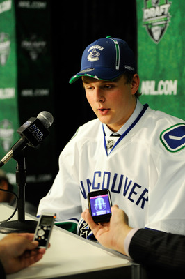 ST PAUL, MN - JUNE 24:  29th overall pick Nicklas Jensen by the Vancouver Canucks takes questions from the media during day one of the 2011 NHL Entry Draft at Xcel Energy Center on June 24, 2011 in St Paul, Minnesota.  (Photo by Hannah Foslien/Getty Image