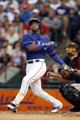 ARLINGTON, TX - JUNE 24:  Sammy Sosa #21 of the Texas Rangers watches the ball go foul against Houston Astros at the Rangers Ballpark June 24, 2007 in Arlington, Texas.  (Photo by Layne Murdoch/Getty Images)