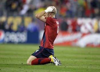 NASHVILLE, TN - MARCH 29:  Michael Bradley #4 of the United States reacts after a missed shot on goal during the 1-0 loss to  Paraguay in an international friendly match  at LP Field on March 29, 2011 in Nashville, Tennessee.  (Photo by Andy Lyons/Getty I