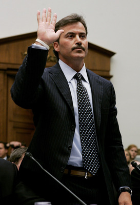 WASHINGTON - MARCH 17:  Baltimore Oriole Rafael Palmeiro is sworn in during a House Committe session investigating Major League Baseball's effort to eradicate steroid use on Capitol Hill March 17, 2005 in Washington, DC. Major League Baseball (MLB) Commis