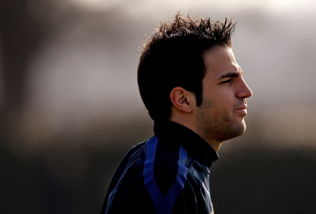 ST ALBANS, ENGLAND - MARCH 07:  Cesc Fabregas of Arsenal during a training session ahead of the UEFA Champions League Round of 16 second leg match against Barcelona at London Colney on March 7, 2011 in St Albans, England.  (Photo by Scott Heavey/Getty Ima