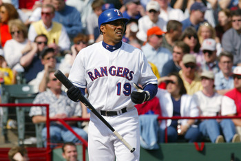 05 Apr 2002 :  Juan Gonzalez of the Texas Rangers during the home-opener game against the Anaheim Angels at The Ballpark in Arlington, Texas. The Angels won 3-1. DIGITAL IMAGE.  Mandatory Credit: Ronald Martinez/Getty Images