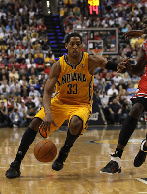 INDIANAPOLIS, IN - APRIL 23: Danny Granger #33 of the Indiana Pacers drives against the Chicago Bulls in Game Four of the Eastern Conference Quarterfinals in the 2011 NBA Playoffs at Conseco Fieldhouse on April 23, 2011 in Indianapolis, Indiana. The Pacer