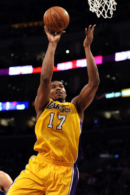 LOS ANGELES, CA - APRIL 26:  Andrew Bynum #17 of the Los Angeles Lakers shoots the ball while taking on the New Orleans Hornets in Game Five of the Western Conference Quarterfinals in the 2011 NBA Playoffs on April 26, 2011 at Staples Center in Los Angele