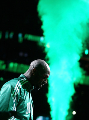 BOSTON, MA - MAY 07: Kevin Garnett #5 of the Boston Celtics heads out during player introductions in Game Three of the Eastern Conference Semifinals in the 2011 NBA Playoffs on May 7, 2011 at the TD Garden in Boston, Massachusetts.  NOTE TO USER: User exp