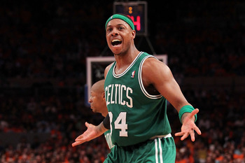 NEW YORK, NY - APRIL 24:  Paul Pierce #34 of the Boston Celtics reacts against the New York Knicks in Game Four of the Eastern Conference Quarterfinals during the 2011 NBA Playoffs on April 24, 2011 at Madison Square Garden in New York City. NOTE TO USER: