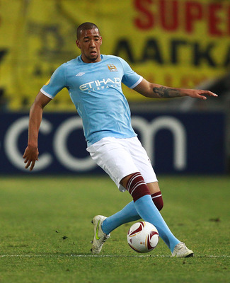 THESSALONIKI, GREECE - FEBRUARY 15: Jerome Boateng of Manchester City in action during the first leg round of 32 Europa League match between Aris Saloniki and Manchester City  at Kleanthis Vikelidis stadium on February 15, 2011 in Thessaloniki, Greece.  (