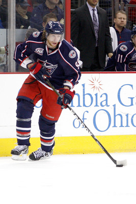 COLUMBUS, OH - FEBRUARY 11:  Jakub Voracek #93 of the Columbus Blue Jackets skates with the puck during a game against the Columbus Blue Jackets on February 11, 2011 at Nationwide Arena in Columbus, Ohio. (Photo by John Grieshop/Getty Images)