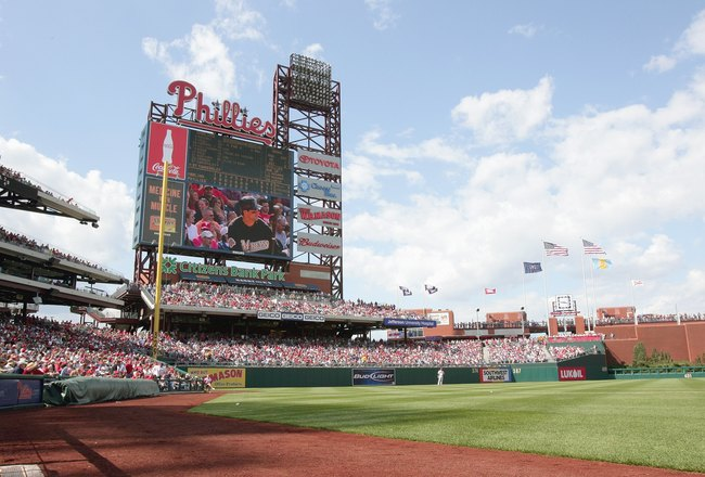 PHILADELPHIA - APRIL 29:  A wide angle view of left field at Citizens Bank Park in a game between  the Philadelphia Phillies and the Florida Marlins on April 29, 2007 at Citizens Bank Park in Philadelphia, Pennsylvania. The Phillies defeated the Marlins 6