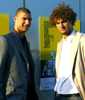 NEW YORK - JUNE 25:  Brook Lopez and Robin Lopez attend the premiere of 'Gunnin' For That #1 Spot' on June 25, 2008 at the Magic Johnson Theatre in New York City.  (Photo by Scott Wintrow/Getty Images)