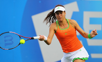 BIRMINGHAM, ENGLAND - JUNE 08:  Sorana Cirstea of Romania plays a forehand during her match against Daniela Hantuchova of Slovakia during the third day of the AEGON Classic at the Edgbaston Prior Club on June 8, 2011 in Birmingham, England.  (Photo by Mat